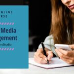 social media management course - woman with smartphone writing notes